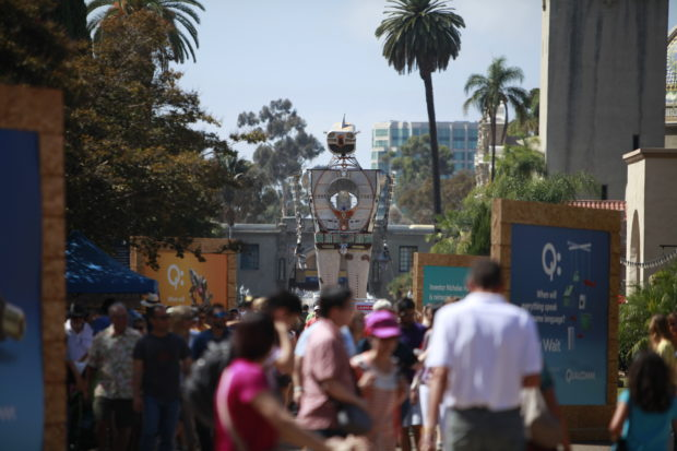 SAN DIEGO, CA-OCTOBER 03, 2015: Guests come to see inventions at the 1st Annual Maker Faire San Diego at Balboa Park.