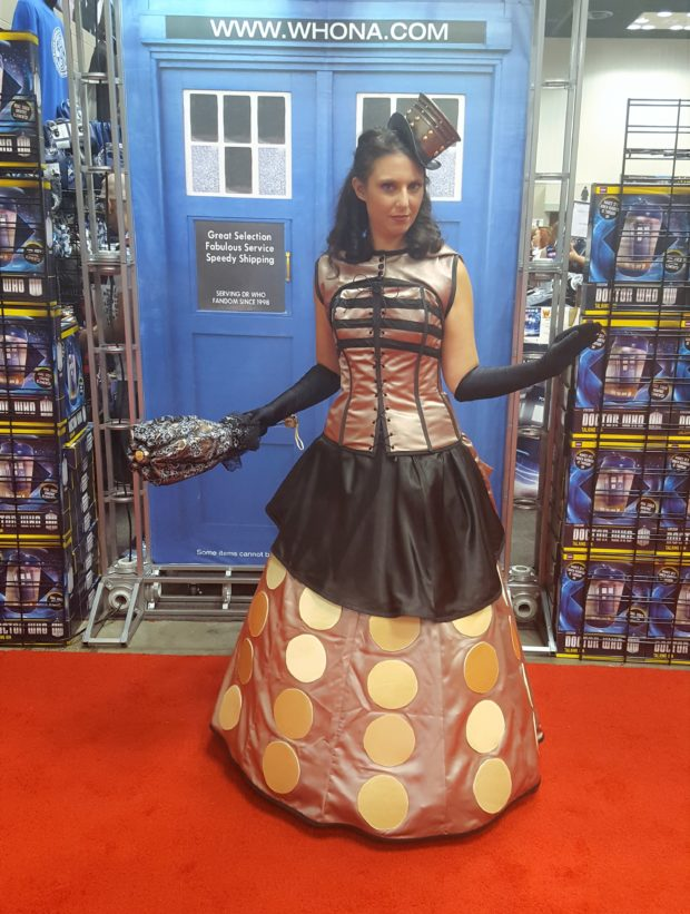 Marchese displays her steampunk Dalek dress at Gen Con. Photo: Engineering Couture