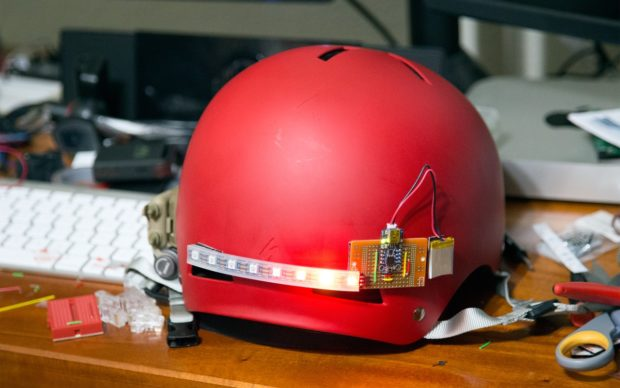 Brent's Adafruit Trinket-powered Knight Rider-style bike helmet lighting rig. How to here.