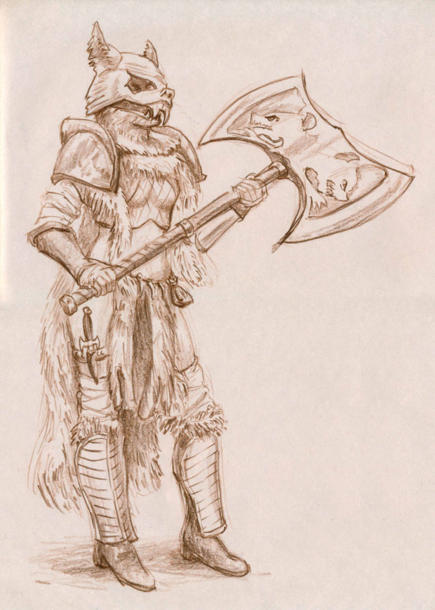 "FIGURE 1-14: We can call her ""Ermahgerd, Warrior Maiden of the Wolf Clan and her great-axe Hedwak."""