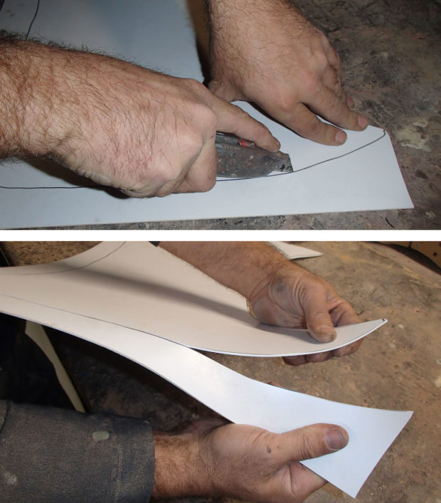 FIGURE 1-32: Score and snap — the quick and easy way to get shapes out of styrene