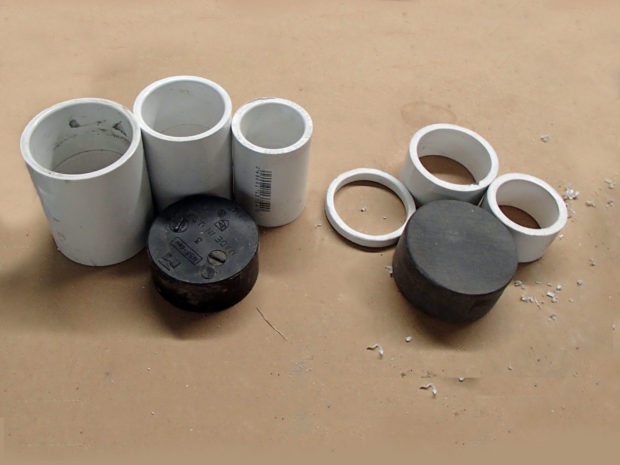 FIGURE 1-44: Boring pipe fittings (left) stop being recognizable (right) with just a bit of love from a miter saw and a sanding block.