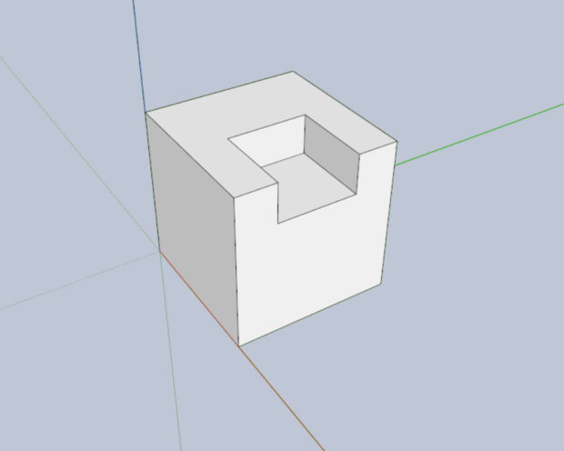 2-2: A 3D model of a cube with a notch in it