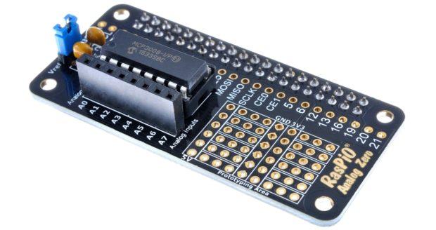 The RasPiO Analog Zero allows you to add eight analog channels to your Raspberry Pi