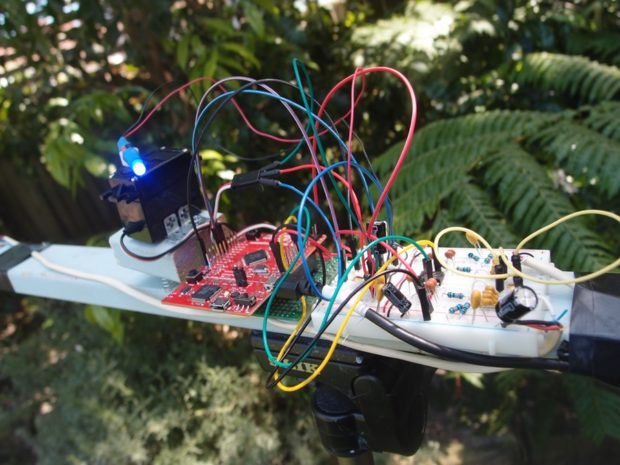 Graham Chow's Acoustic Localization tracking device uses a pair of microphones, an analog filter and the Tiva-C to locate a target