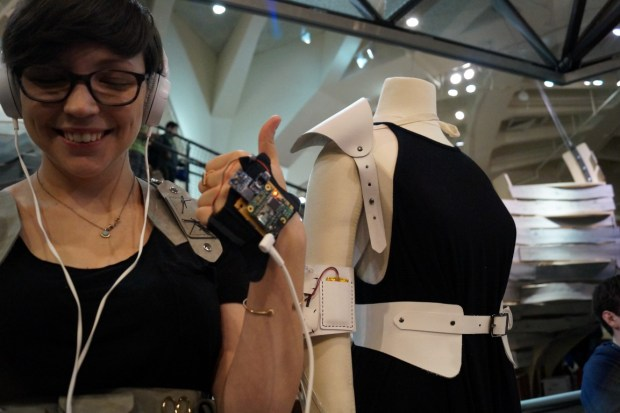 This garment detects your motions while knitting and makes ambient music from them. I listened and it sounded pretty cool, the actual outfit looks really cool too. - 11: 52 Caleb Kraft