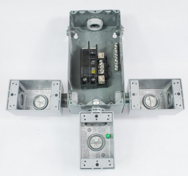 Figure 11 – Breaker box with attachments, ground bar and circuit breaker