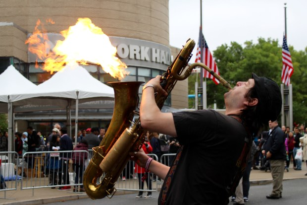 Warming up the crowd as they queued to come into the faire, propane and saxophones. (Saturday 09:45, Alasdair Allan)