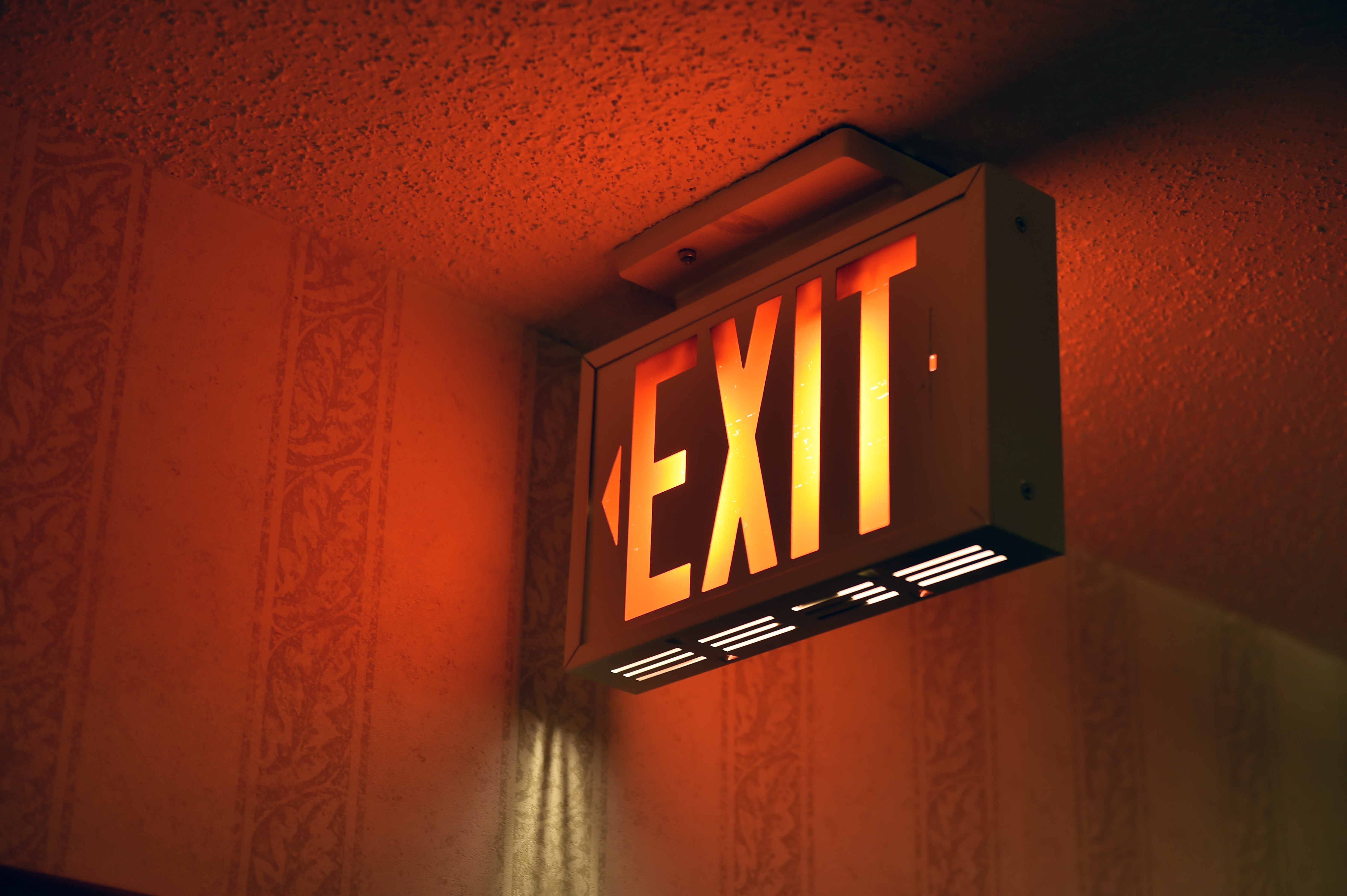 Emergency fire exit sign lit up