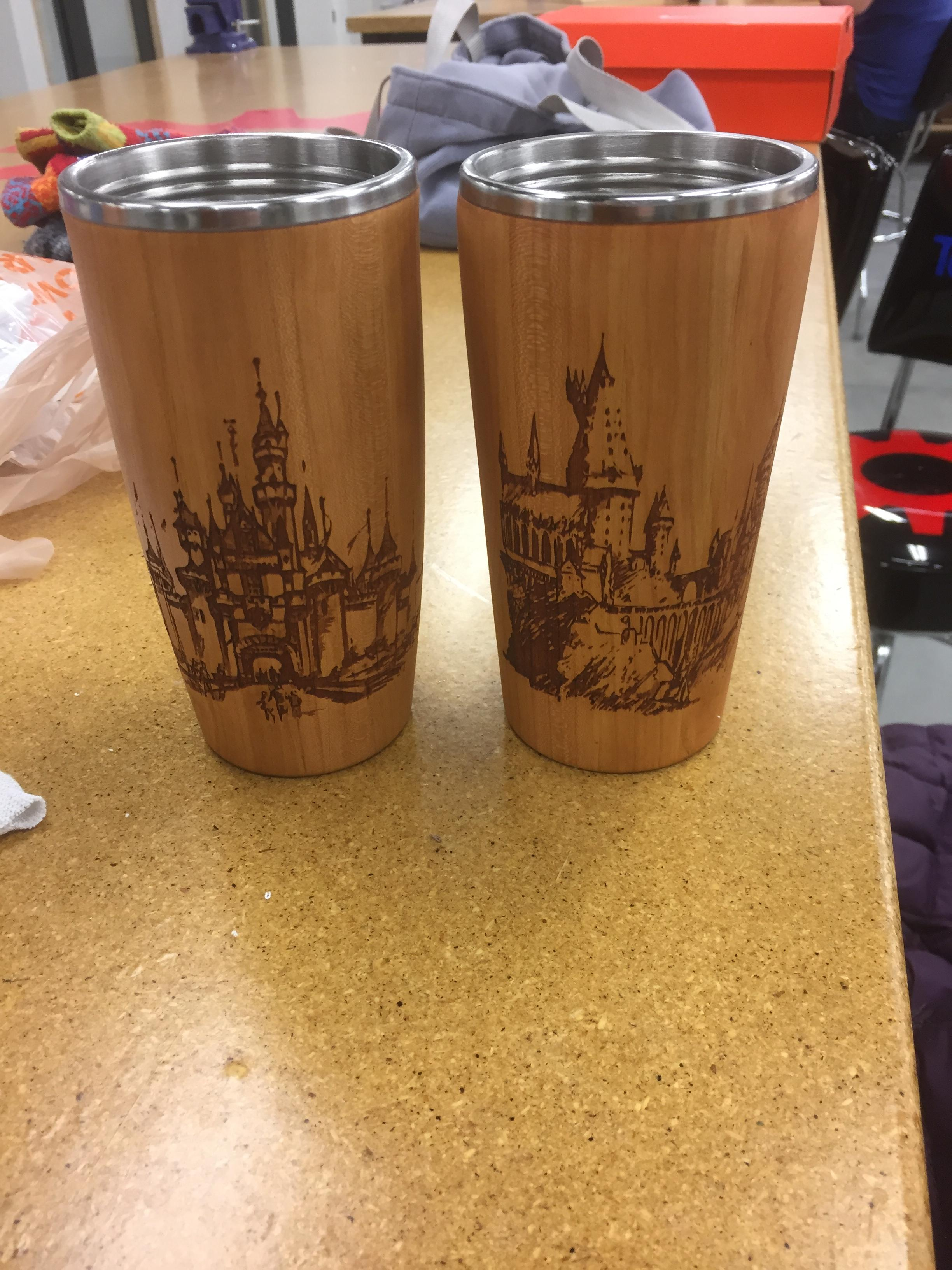 Laser Etching Beautiful Wood Carved Coffee Thermoses