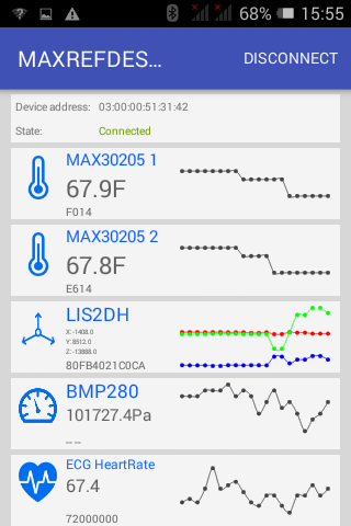 Figure 9: Android app showing my heartrate (ECG), temperature, accelerometer, and barometer