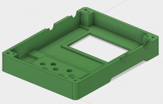 Interior of circuit board case lid in Fusion 360 CAD: