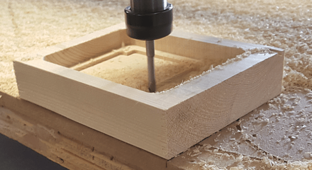 ShopBot roughing out early prototype in pine:
