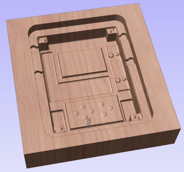 Box lid interior in vCarve Pro mid-animation of interior finishing step:
