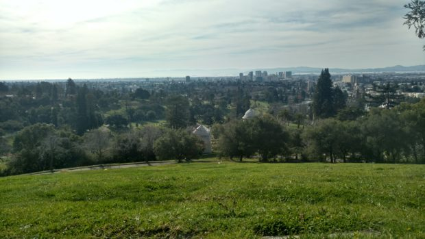 The view of downtown Oakland from the top of Mountain View Cemetary.