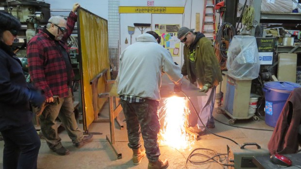Couples Welding Class: Cutting 16 gauge steel with a plasma cutter.