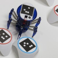 Robotic pets: The bots_alive robot is attracted to the blue target, and blocked by the red obstacles.