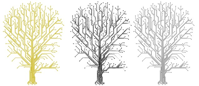 Illustration of three trees, two black and one gold, made of computer circuitry.