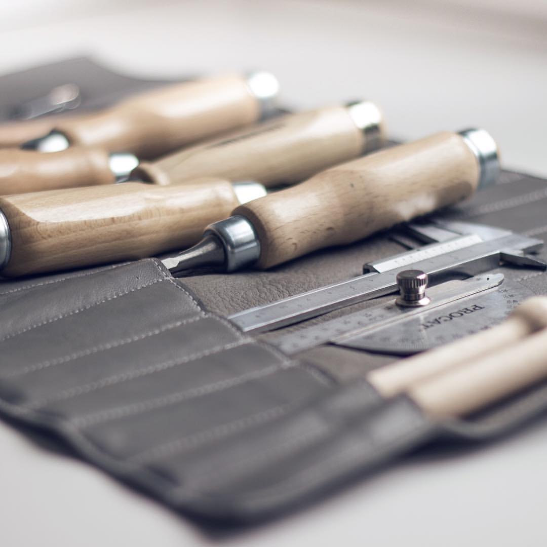 Hand tools in leather pouch
