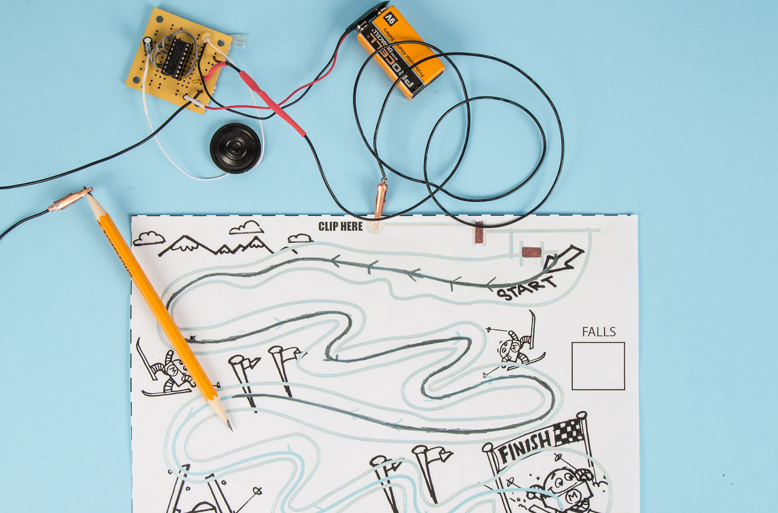 Build An Electronic Audio Game With A Pencil Paper And Conductive How To Simple White Noise Generator Circuit Diagram Ink Make