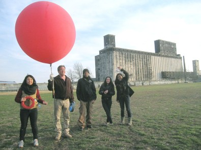 Public Lab prepares to do balloon-mapping. Photo courtesy of Public Lab