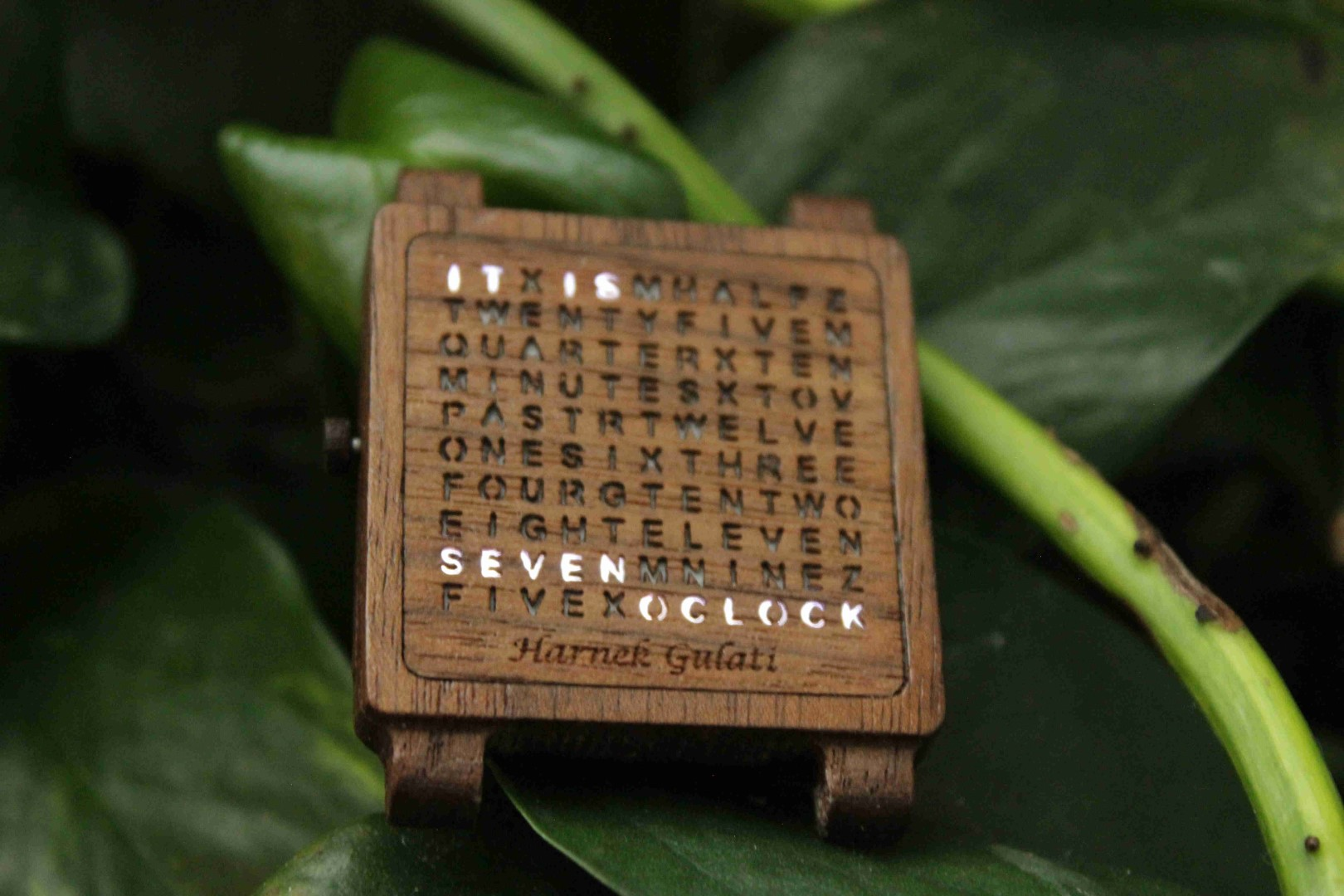 This Tiny Wooden Word Clock Can Be Worn as a Watch