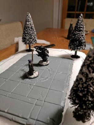 Blake's Frostgrave wizard testing out my summoning platform by raising a swarm of vampire bats.