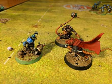 My Skaven thrower and gutter runner gang up to tackle one of Blake's goblins.
