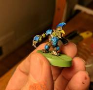 One of Blake's Blood Bowl goblins. We coordinated our color schemes so that they would look good together on the field.