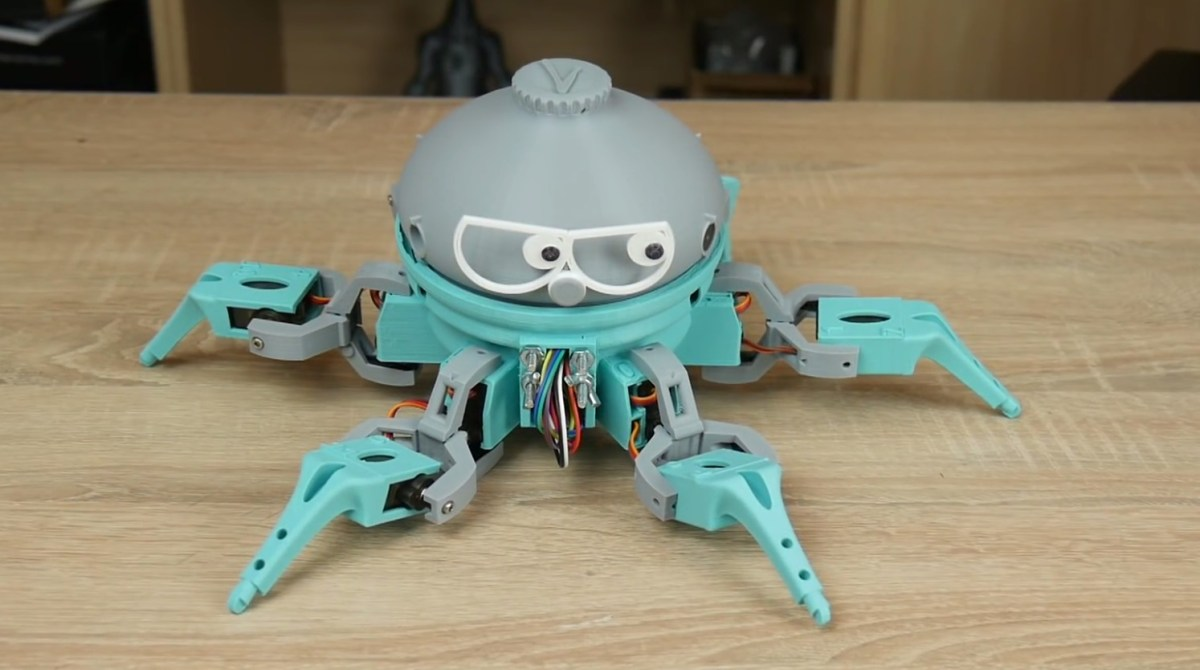 this 3d printed arduino based hexapod robot can bust a move make. Black Bedroom Furniture Sets. Home Design Ideas