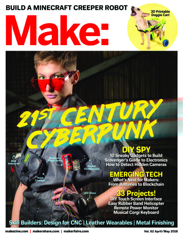 The cover of issue #62 of Make: Magazine. A woman wearing computer boards and red sunglasses looks into the camera.