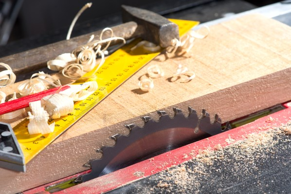 circular saw in the carpentry workshop