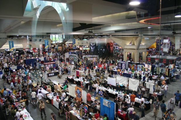 Twice as many booths and people fill the same convention hall.