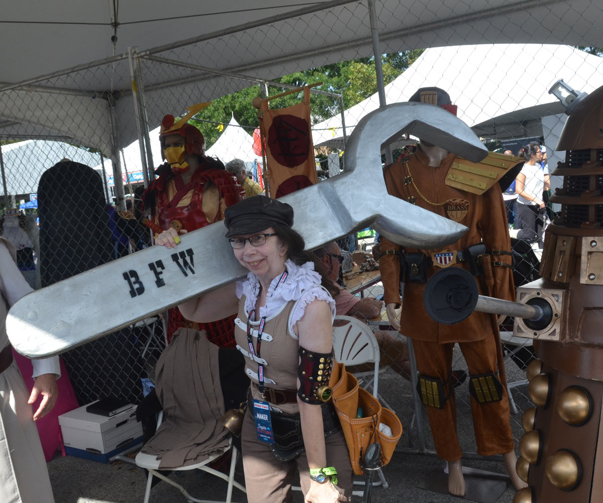 Live World Maker Faire New York 2018 Make Flying Hobby Sharing Agic Print Printing Circuit Boards With Barb From Cosplay Large And Small Shows Off An Enormous Wrench She Built Jon Christian