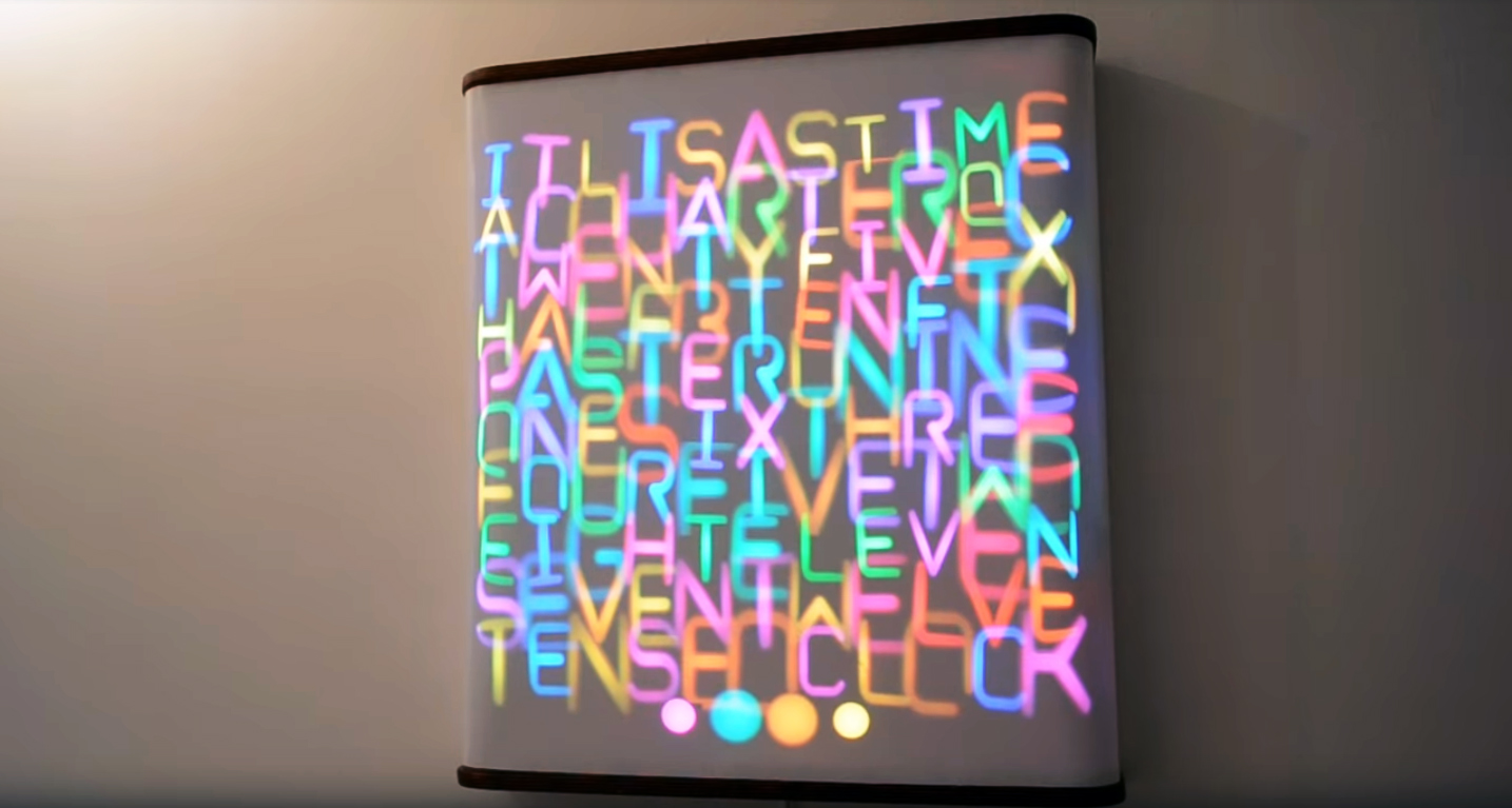 This Servo Driven Word Clock Creatively Mixes Light and Motion