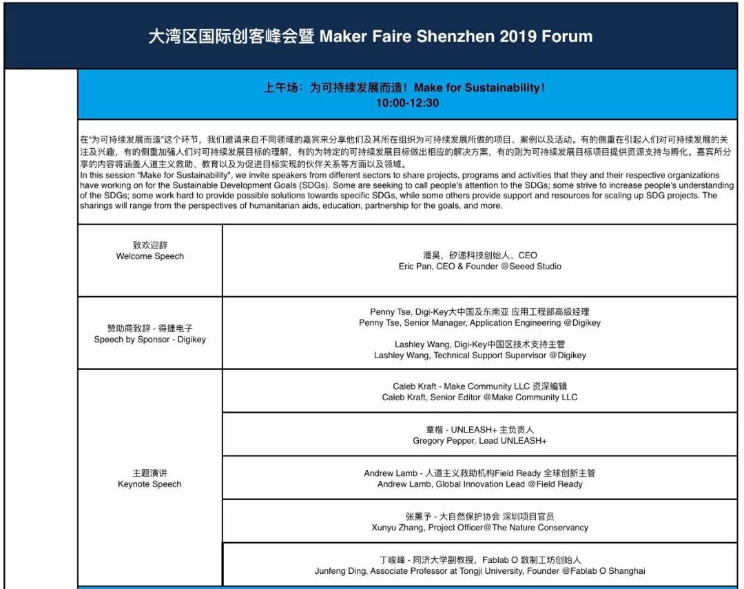 Maker Faire Shenzhen Schedule 1