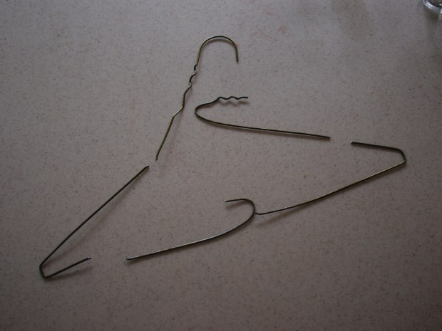 Hose Stakes from Reused Hangers (for Drip-Irrigation Systems)