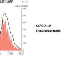 日本の新型コロナウイルス感染者の2月から5月のグラフ