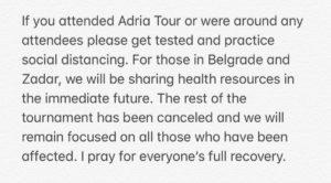 ジョコビッチがツイッターに投稿したコロナ感染陽性についての謝罪文その2