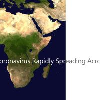 アフリカの地図の画像の上にCoronavirus Rapidly Spreading Across Africaの印字