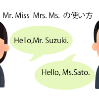 『Mr.』『Miss』『Mrs.』『 Ms. 』の使い方の説明図