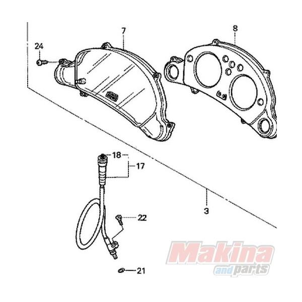44830MAW760 Speedometer Cable Honda XL-650V Transalp
