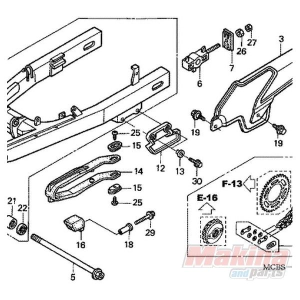 52156MAN620 Chain Guard Honda XRV750-XL650V