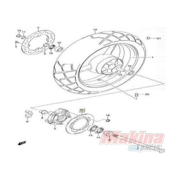 6465135F10 Rear Wheel Damper Suzuki DL-650 V-Strom