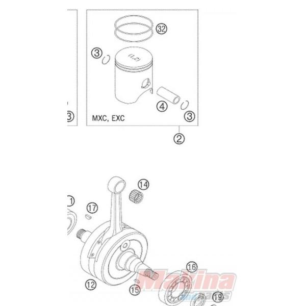 54630207100 Piston KTM EXC-250 '00-'05 Group I