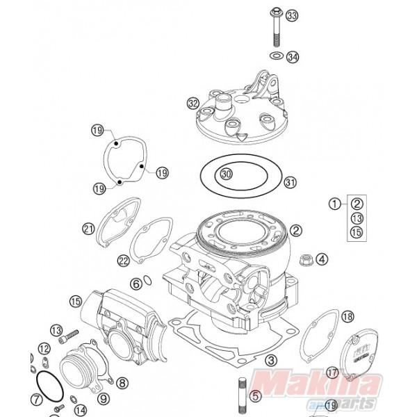 0770760021 O'ring Κεφαλής Κυλίνδρου Εσωτερικό KTM EXC-250