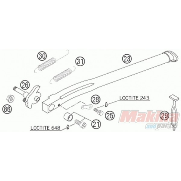 50303023270 Bushing with Screw Side Stand KTM EXC '99-'07