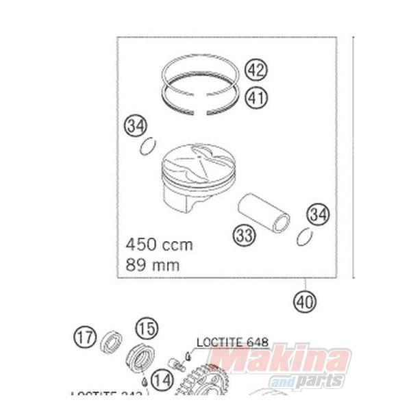 57530032000 Piston Ring (Compression) KTM EXC-400-450 SX