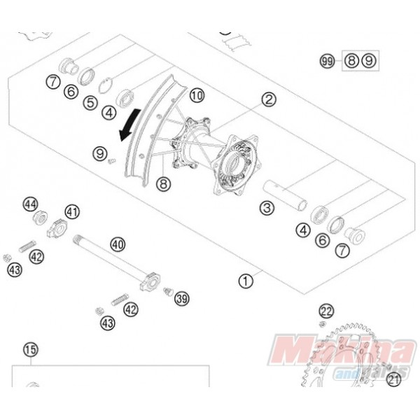 77310085044 Spindle Rear Wheel KTM EXC-SX-SXF
