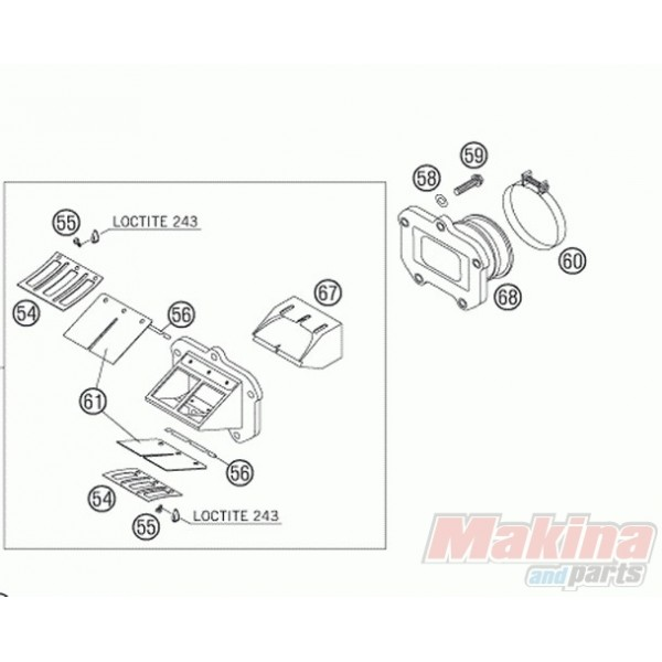 50330050200 Intake Flange KTM EXC & SX-125-200